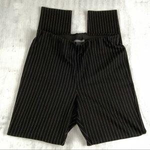Suzy Shier Black Pinstripe Dress Pants Size Large Wide Band Elastic Waist